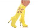 "Sexy Yellow Retro 70s Flower Knee High 4.5"" Heel Go Go Boots"