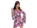Sexy Purple 60s 70s Disco Dress Outfit Go Go Girl Adult Halloween Costume