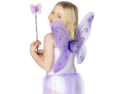 Kids Fairy Pixie Costume Purple Butterfly Wings & Wand Child