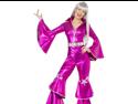 Sexy Retro 70s Disco Pink Jumpsuit Adult Halloween Costume