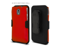 Pantech Discover P9090 3 In 1 Combo Set Protex Red Case and Holster Beltclip + Screen Protector