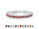 "Round Simulated Birthstone Crystal Accent Silvertone Tennis Bracelet 7""- July- Simulated Ruby"