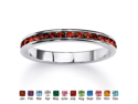 PalmBeach Jewelry Round Birthstone Sterling Silver Eternity Band- January- Simulated Garnet