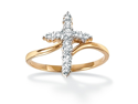 PalmBeach Jewelry Round Diamond 18k Yellow Gold Over Sterling Silver Cross Ring