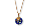 PalmBeach Jewelry Simulated Lapis Mosaic Globe Pendant Necklace in Yellow Gold Tone