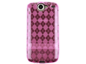 Flexible Wrap On Phone Crystal TPU Case Cover Hot Pink Checkers For Nexus One