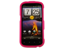 Durable Rubber Coated Plastic Phone Protector Case Cover Hot Pink For HTC Amaze