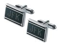 Landton Black Matte Silver Plated Cufflinks