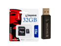 Kingston 32 GB Class 4 MicroSDHC Flash Card with SD Adapter SDC4/32GB with Free SoCal Trade, Inc. Memory Card Reader