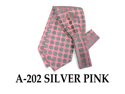 Men's Silver And Pink Polka Dots Polyester Ascot With Matching Hanky A-202
