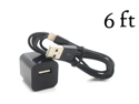 6FT 8-Pin USB Data SYNC Charger Cable + USB Wall Plug Home Adapter for iPhone 5 5C 5S Black