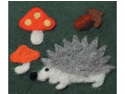 Felting Needle Applique Mold-Hedgehog & Mushrooms