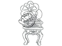 With Love Cling Stamp-Vintage Gramophone