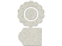 Die-Cut Grey Chipboard Embellishments-Flower Shape&#59; Center & Tag 12/Pkg