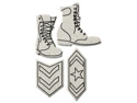 "Die-Cut Grey Chipboard Embellishments-Army Boots & 2 Badges&#59; up to 3.8""x3.2"""
