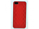 Apple iPhone 5 Plush Designer Faux Leather Back Case Cover - Red