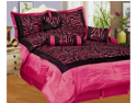 7 Piece King Pink Zebra Bedding Comforter Set