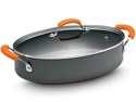 Rachael Ray 5-qt. Oval Hard Anodized II Covered Saute Pan with Handles, Orange