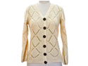 Ivory Diamond Pattern Long Sleeve Button Down Sweater Cardigan