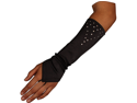 Stretch Satin Fingerless Gloves Forearm Length with Crystals