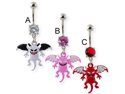 Navel ring with dangling colored devil,Color:red - C