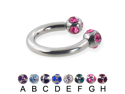 "Tiffany ball circular barbell, 12 ga,Diameter:1/2"" (13mm),Ball size:5/16"" (8mm),Color:amethyst - A"