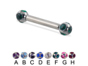 "Long barbell (industrial barbell) with tiffany balls, 12 ga,Length:7/8"" (22mm),Ball size:3/16"" (5mm),Color:aquamarine  - B"