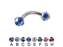 "Tiffany ball curved barbell, 12 ga,Length:7/16"" (11mm),Ball size:5/16"" (8mm),Color:red - H"