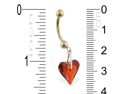 14K Yellow Gold belly ring with dangling swavorski red crystal heart