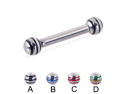 "Straight barbell with epoxy striped balls, 10 ga,Length:3/4"" (19mm),Ball size:3/16"" (5mm),Color:red - C"