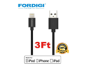 FORDIGI?APPLE CERTIFIED (3.1 Ft) USB Sync and Charging Lightning Cable for iPhone(5/5S/5C), iPad Air, iPad Mini/Mini Retina, iPod Touch 5th Generation and iPod Nano 7th Generation (Black)