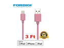 FORDIGI?APPLE CERTIFIED (3.1 Ft) USB Sync and Charging Lightning Cable for iPhone(5/5S/5C), iPad Air, iPad Mini/Mini Retina, iPod Touch 5th Generation and iPod Nano 7th Generation (Pink)
