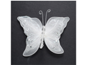 5 Inch Sheer Nylon Crystal Wire Butterfly w/ Rhinestones 12 Pieces wedding decorations - Color: White