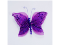 5 Inch Sheer Nylon Crystal Wire Butterfly w/ Rhinestones 12 Pieces wedding decorations - Color: Purple