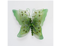 5 Inch Sheer Nylon Crystal Wire Butterfly w/ Rhinestones 12 Pieces wedding decorations - Color: Moss
