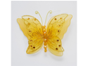 5 Inch Sheer Nylon Crystal Wire Butterfly w/ Rhinestones 12 Pieces wedding decorations - Color: Gold