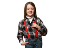 "Solid Color Kids Elastic Suspenders - Red (26"")"