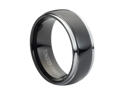 Tungsten Carbide Domed High Polish Black Enamel Plated Rounded Edge 8mm Wedding Band Ring