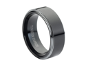 Tungsten Carbide High Polish Black Enamel Plated Beveled Edge 8mm Wedding Band Ring
