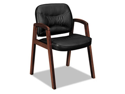 Vl800 Series Guest Chair W/Wood Arms, Black Leather/Mahogany Finish