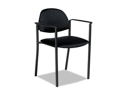 Comet Series Stacking Arm Chair, Black Polypropylene Fabric, 3/Carton