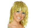 Adults or Childs Economy Gold Foil Tinsel Costume Wig