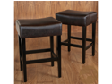 Lopez Backless Brown Leather Counterstools (Set of 2)