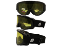 Birdz Vulture Black Frame Motorcycle Goggles with Yellow Bifocal Shatterproof Anti-Fog Polycarbonate Lenses and Vented Open Cell Foam