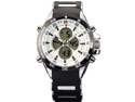 SHARK Mens Digital Black Rubber Multi-Function Military Sport Watch White Dial