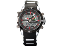 SHARK Mens Army Dual Time LCD Alarm Chronograph Sport Wrist Watch Red Dial