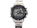 New SHARK Digital Alarm Day Date Stainless Mens Sport Wrist Watch Blue Dial