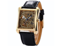 Mens Classic Hollow Skeleton Automatic Auto Mechanical Black Leather Band Wrist Watch