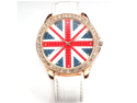 Women Lady Girl Union Jack British Flag White Leather Quartz Watch