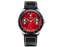 New Mens Red Black Leather Hand Winding Mechanical  Men'S Sport Wrist Watch